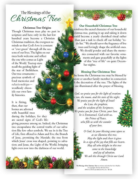 Christmas Blessing Prayer.Christmas Tree Handout Card